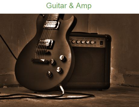 image of a guitar and a power amp